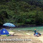 Our sun tent on vacation in Kauai at Ke'e Beach