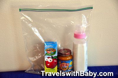 Excess liquids prepared for carry-on with baby or toddler
