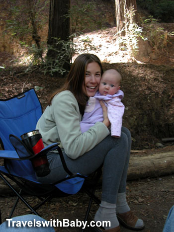 Author Shelly Rivoli camping with her first baby in the redwoods near Big Sur travelswithbaby.com