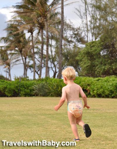 Huggies Hawaiian Little Movers diaper on the move in Kauai