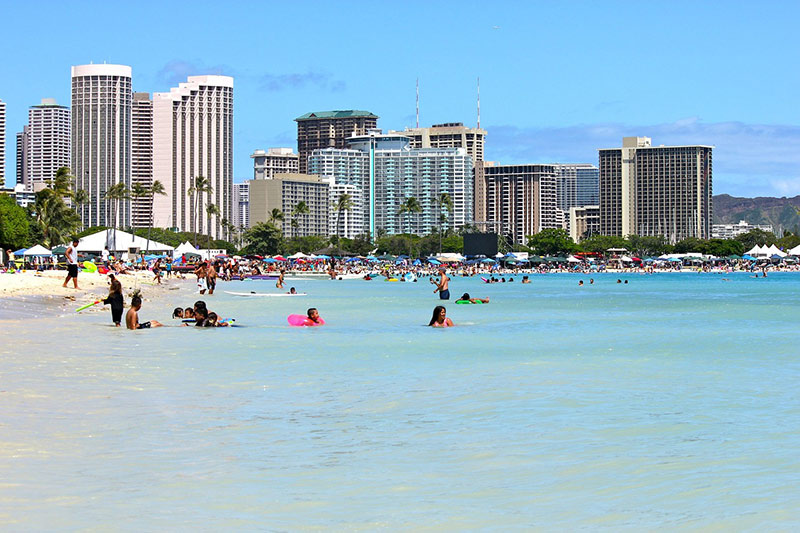 Waikiki Beach is ideal for families with young kids