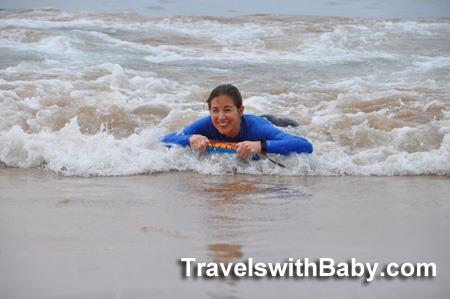 Shelly Rivoli on boogie board in Maui