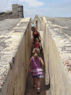 Exploring the maze-like El Morro with the kids