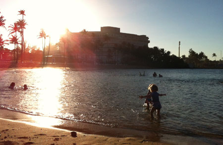 Toddlers at beach, San Juan, Puerto Rico
