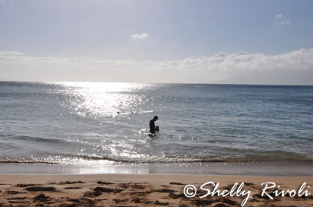 Swimming with Daddy in Napili Bay.