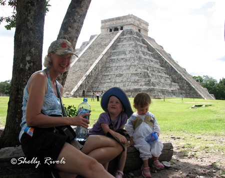 vacation with grandma, two toddlers with grandmother at Chichen Itza, Mexico