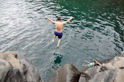 "My hubby taking the plunge at the hidden ""Venus Pool""  on Maui's east side, and what it felt like finding out I was a Gold Winner just days before."