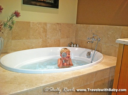 Eeek! A tiny pirate has taken over the tub.