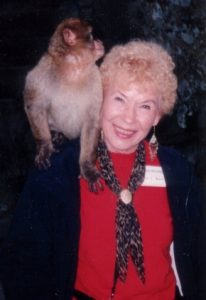My grandma, not bothered one bit by the overly friendly monkeys of Gibraltar.