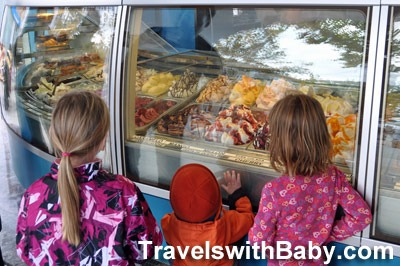 kids looking at ice cream in Spain