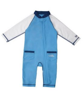Keep skin-sensitive babies covered at the beach with full-length sleeves and legs.