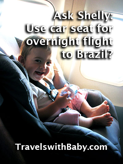 Will she or won't she sleep in the car seat on the long, long flight to Brazil?