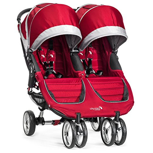 Baby Jogger City Mini twin stroller in red