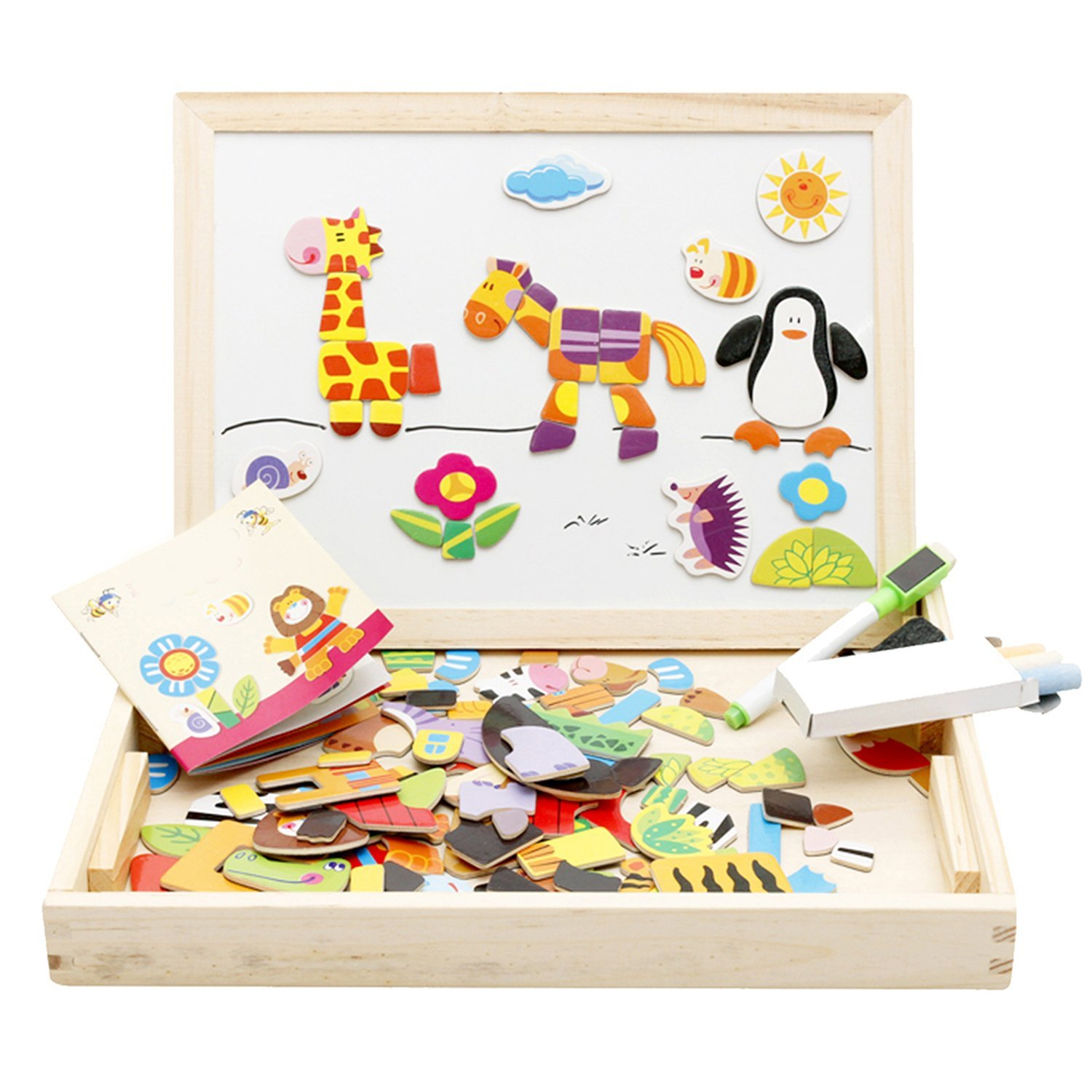 wooden travel desk with magnetic travel toys