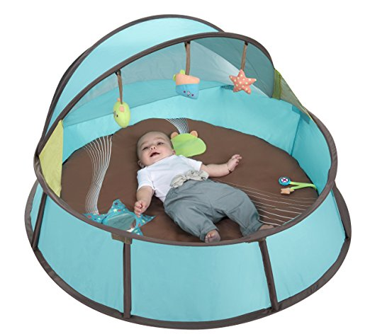 Babyni Babymoov play yard tent with infant