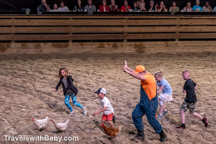 Kids from the audience in a Chicken Chase at Dolly Parton's STampede