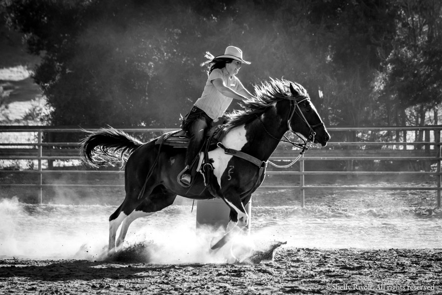 Head wrangler Jill Rivoli barrel races at the Alisal Guest Ranch