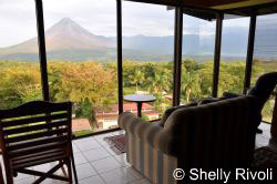 Volcano view from room at Arenal Lodge in Costa Rica