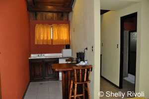 Kitchenette in family-friendly arenal lodge costa rica