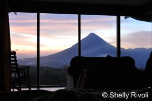 Sunrise over Arenal Volcano view from Arenal Lodge in Costa Rica