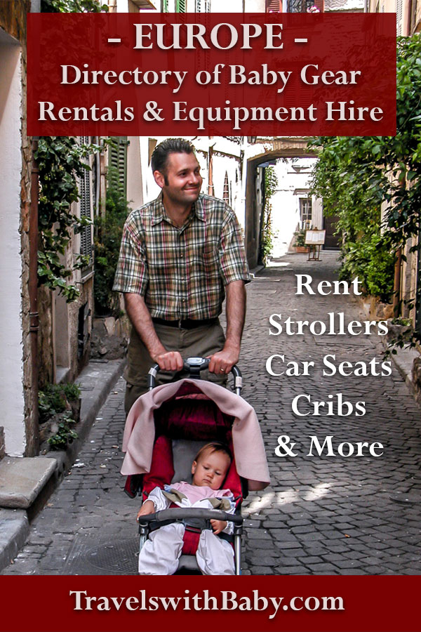 Baby gear rental in Europe with dad pushing stroller