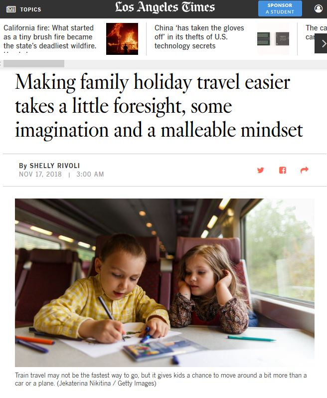 holiday travel with kids tips in the L.A. Times