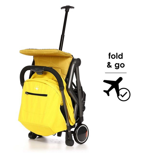 diono traverze stroller folded with luggage handle