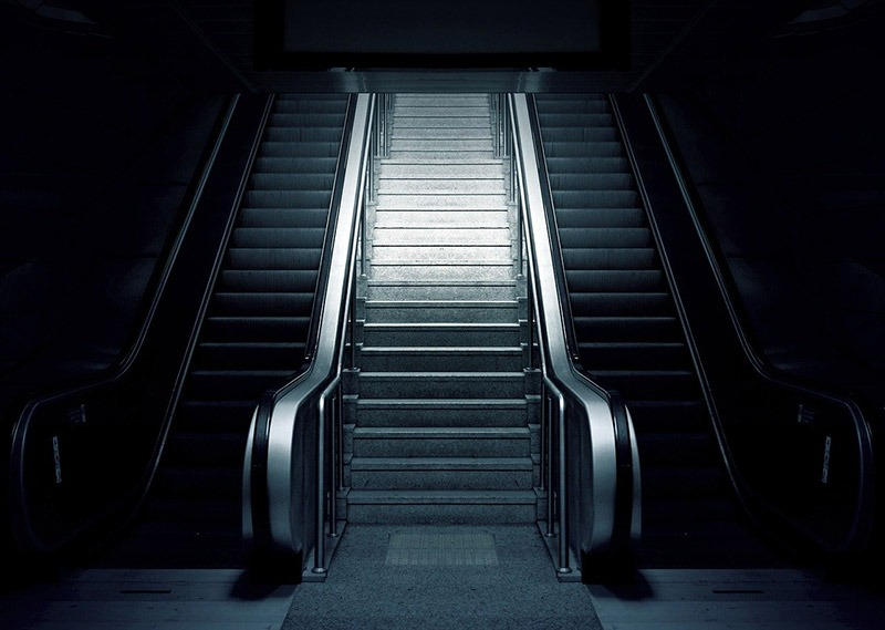empty escalators at airport