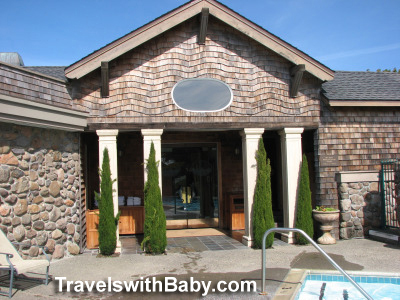 The pool and spa entrance at Bodega Bay Lodge and spa