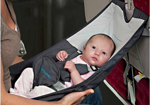 The FlyeBaby hammock for infants on airplanes