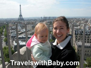 Shelly Rivoli with baby in Paris, France