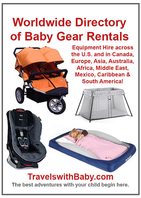 Pinnable image for baby gear rentals and baby equipment hire worldwide directory