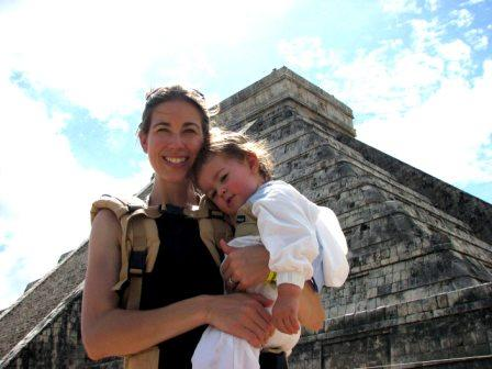 Shelly Rivoli with daughter Rosalyn at Chichen Itza.