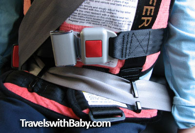 Shows the two safety belt lap guides on the RideSafer travel vest