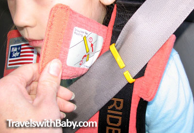 how the shoulder seat belt guide for the RideSafer Travel Vest