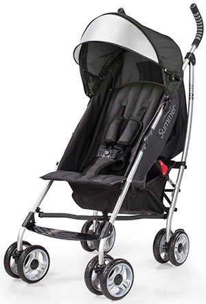 Summer Infant 3D lite travel stroller in silver/gray