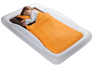 Shrunk's portable inflatable bed for travel with toddler or preschooler